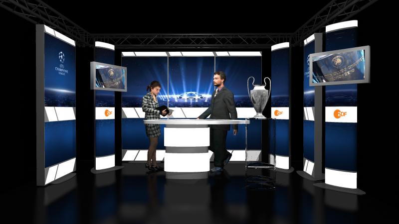ZDF Champions League Studio Set 3D visualization